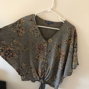 Democracy grey top with floral accents, button